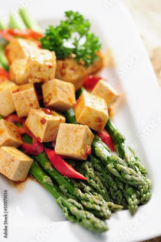 Food: Cooked Asparagus and marinated Tofu