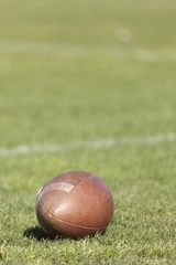 Rugby ball at green grass