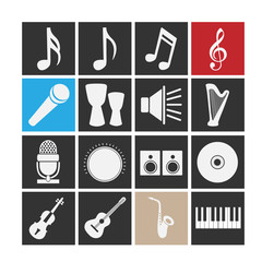 Set of icons on a theme music.
