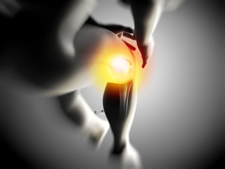 medical illustration of knee pain