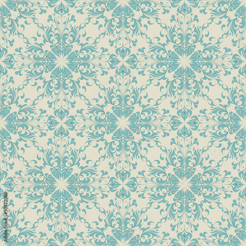 Seamless vintage wallpaper pattern. Abstract floral ornament.