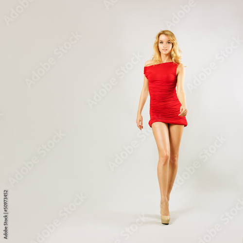 Beautiful Woman Walk in Red Dress