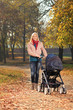 A smiling mother with a baby carriage having a walk in a park