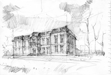 Pencil drawing of Château de Champs-sur-Marne,France