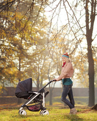 A smiling mother posing with a baby stroller in a park in autumn