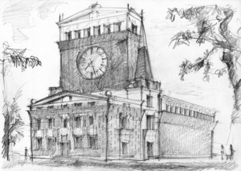 Illustration of monumental church of architect Plecnik in Prague