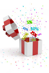 open gift box with discounts on white