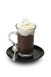 Hot chocolate and whipped cream close up on the white