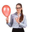 Girl with inflated balloon shows that all okay