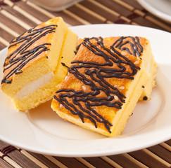 Slice of sponge cake
