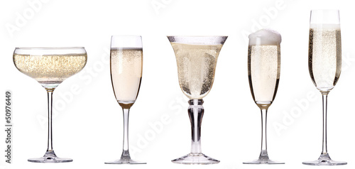 glass of champagne set isolated - 50976449