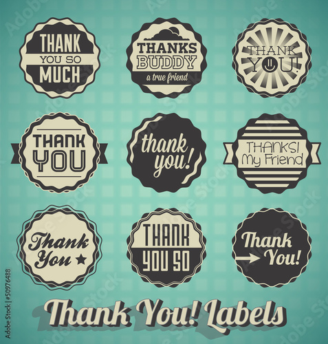 Vector Set: Vintage Thank You Message Labels