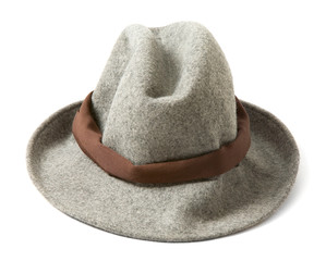 Grey felt fedora hat with brown hatband