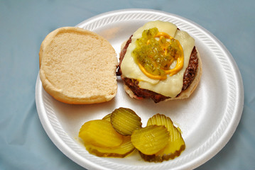 Cheeseburger with Relish and Mustard