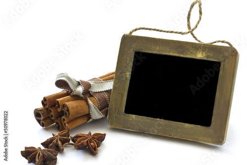 Group of spaces with cinnamon and anise isolated on white
