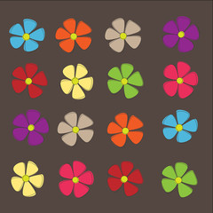 Spring retro flowers on Background, Vector
