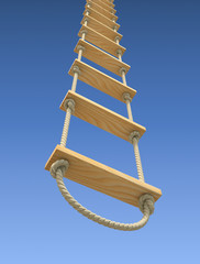 Wooden rope ladder on a gradient blue sky background