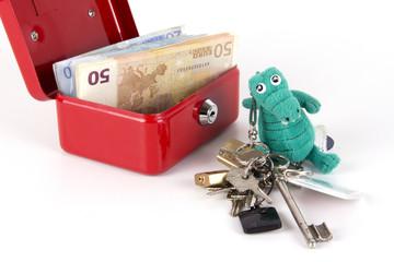 Geldscheine in Spardose