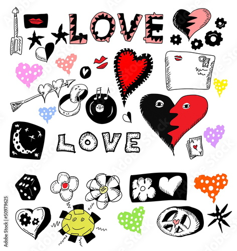 concept love doodles, hand drawn design elements