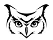 Head of horned owl. Vector illustration.