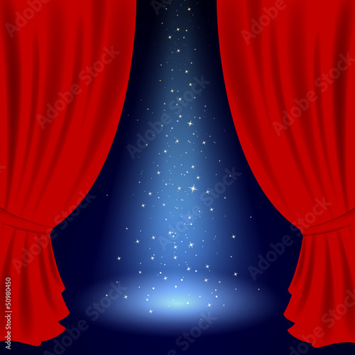 Vector Illustration of an Opened Stage