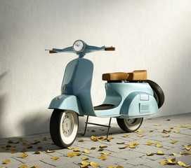 Vintage blue motorcycle vespa, by wall with fallen leaves