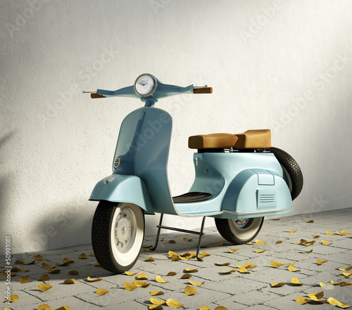 Vintage blue motorcycle vespa, by wall with fallen leaves - 50981081