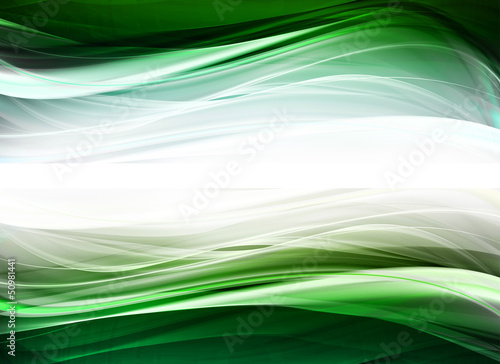 Abstract light and green waves