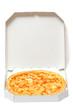 pizza in open box