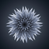 3d abstract crystal organic flower star
