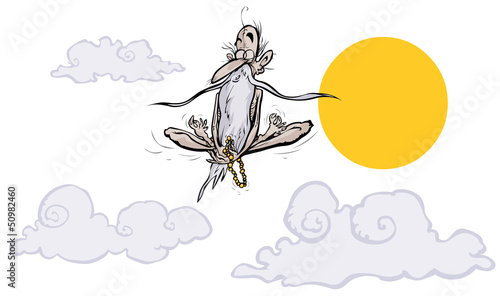 Levitating Guru. Cartoon character.