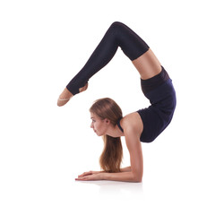 cute woman gymnast on white background