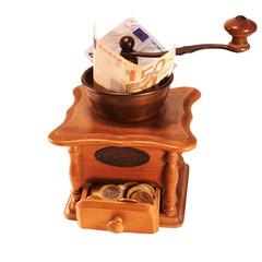 Coffe grinder grinding money