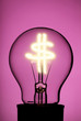 Light bulb with glowing Dollar Symbol on pink
