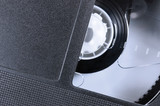 VHS Tape Macro Closeup large black retro videotape cassette