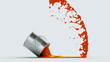 falling paint can, made in slow motion 3d animation
