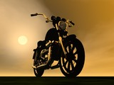 Motobike sunset - 3D render