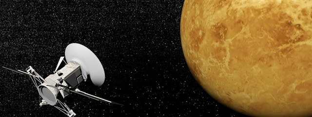 Magellan spacecraft near Venus planet - 3D render
