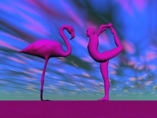 Flamingo yoga - 3D render
