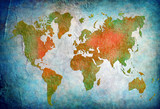 vintage world map with blue background poster