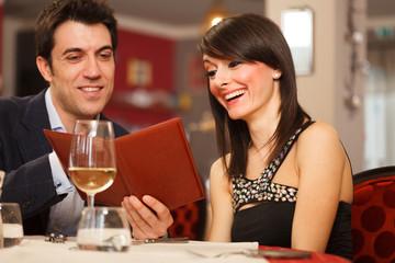 Couple reading the menu