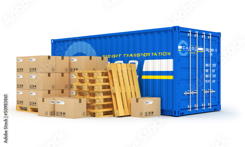 Cargo, shipping and logistics concept