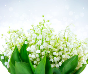 Lily-of-the-valley Flower Design. Bunch of White Spring Flowers