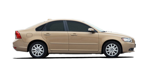 gold sedan side view