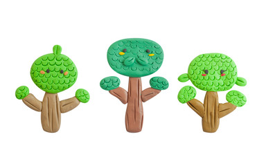 Plasticine tree of family, isolated