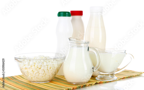 Dairy products on napkin isolated on white