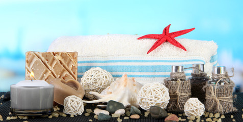 Spa composition mat on sea background