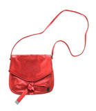 Red crackle metallized leather purse