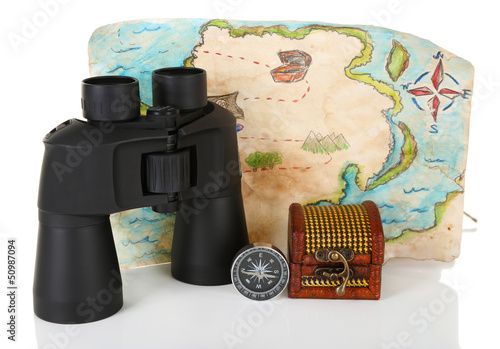 Black modern binoculars with map and compass isolated on white