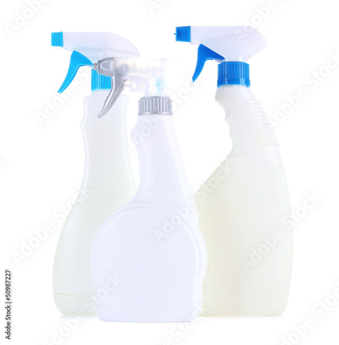 Different kinds of sprays for house cleaning, isolated on white